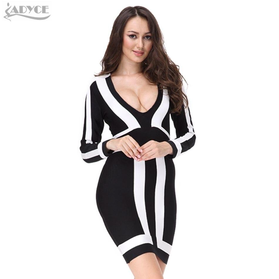 Новинка 2019 года для женщин Вечеринка платье V образным вырезом с длинным рукавом белый черный лоскутное ремень Осень леди Bodycon знаменитости