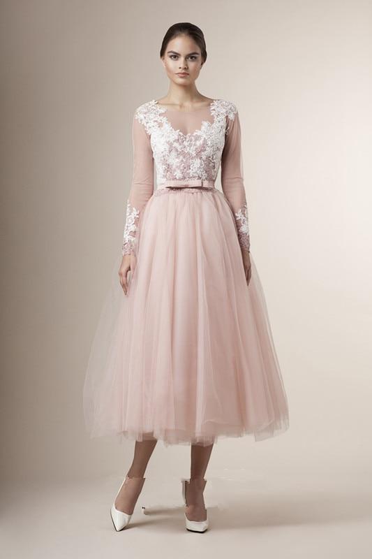 2016 special tea length junior bridesmaid dresses sheer for Long sleeve tea length wedding dresses