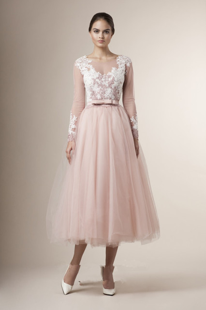 2016 Special Tea Length Junior Bridesmaid Dresses Sheer