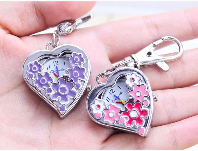 2016 new Purple pink Flower Pocket Watch Necklace Pendant Heart shape Girl Lady