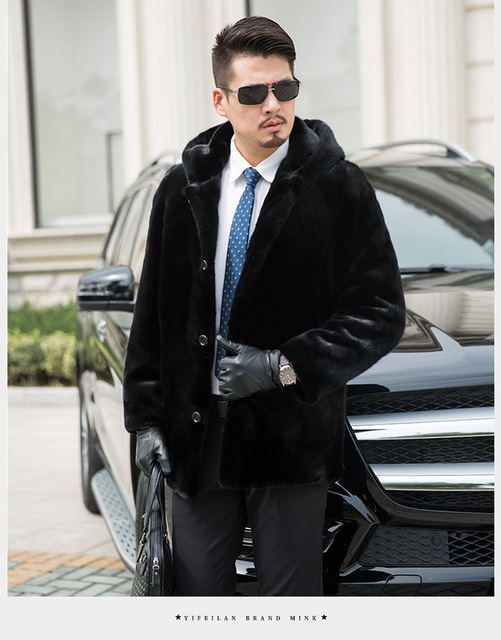 Business Style Gorgeous menly Wholeskins Real Mink fur trench coats generous Men stunning natural mink fur coats