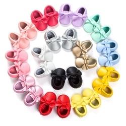 14 لون طفل بنات الأميرة أحذية هامش لينة الخف الرضع طفل فتاة الجلود سرير أحذية 0-18 متر