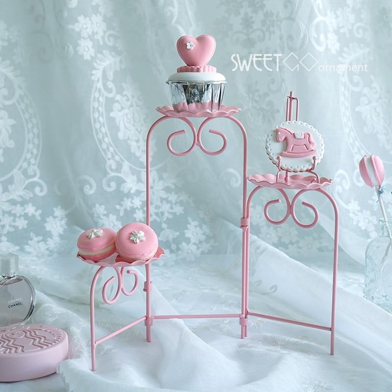 SWEETGO Rosa galletas escalera soporte plegable capaz Magdalena herramientas de decoración para el banquete de boda postre tabla proveedor panadero pantalla