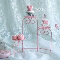 Sweetgo розовый cookies лестница стенд сложить в состоянии кекс украшая инструменты Для свадебной вечеринки Десерт Таблица поставщик Baker дисплей