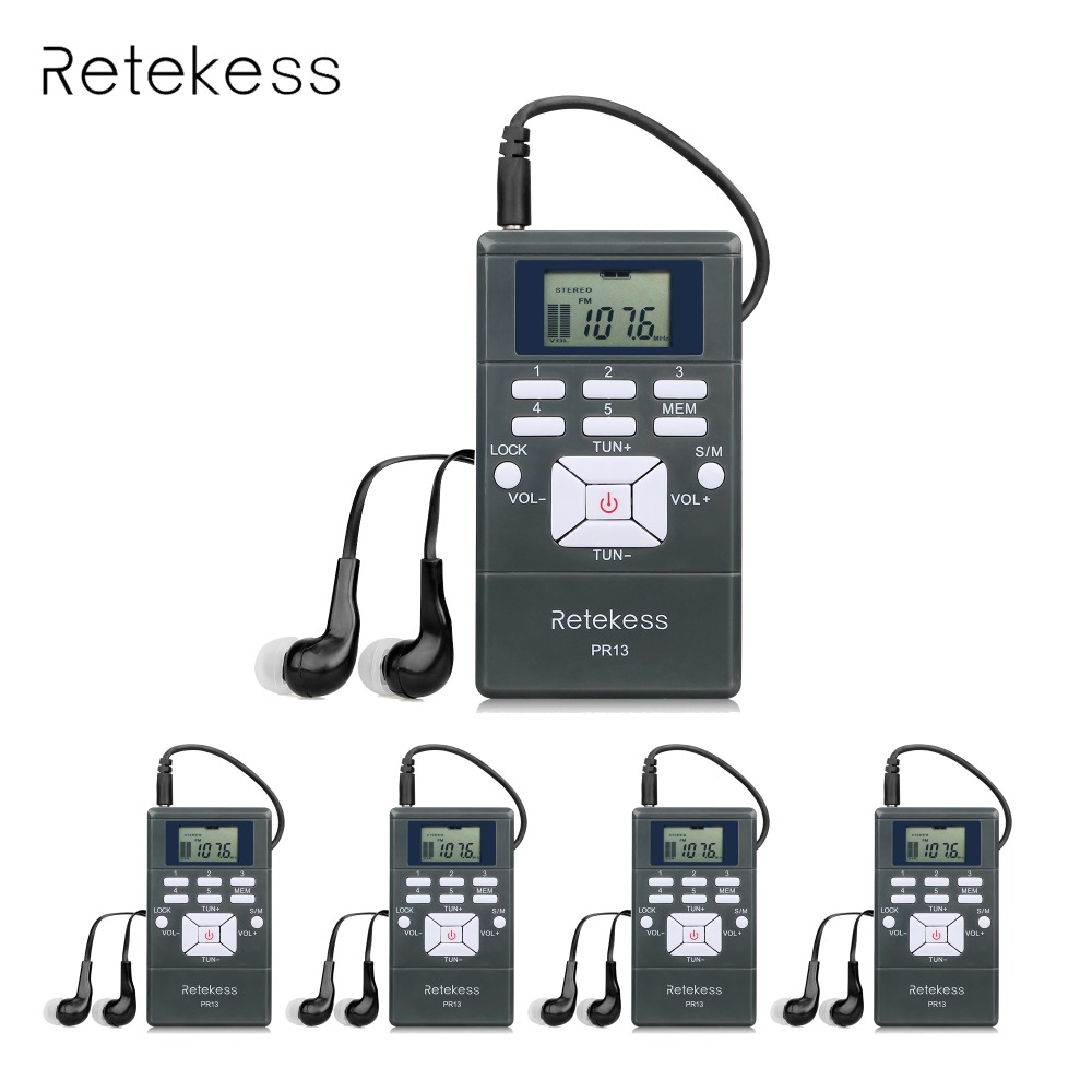 5pcs DSP Stereo FM Radio Digital Clock Receiver Mini Portable Radio Station For Meeting Simultaneous Interpretation 2 Colors 100pcs pr13 dsp portable fm radio receiver pocket radio for large meeting simultaneous interpretation with earphone f9213
