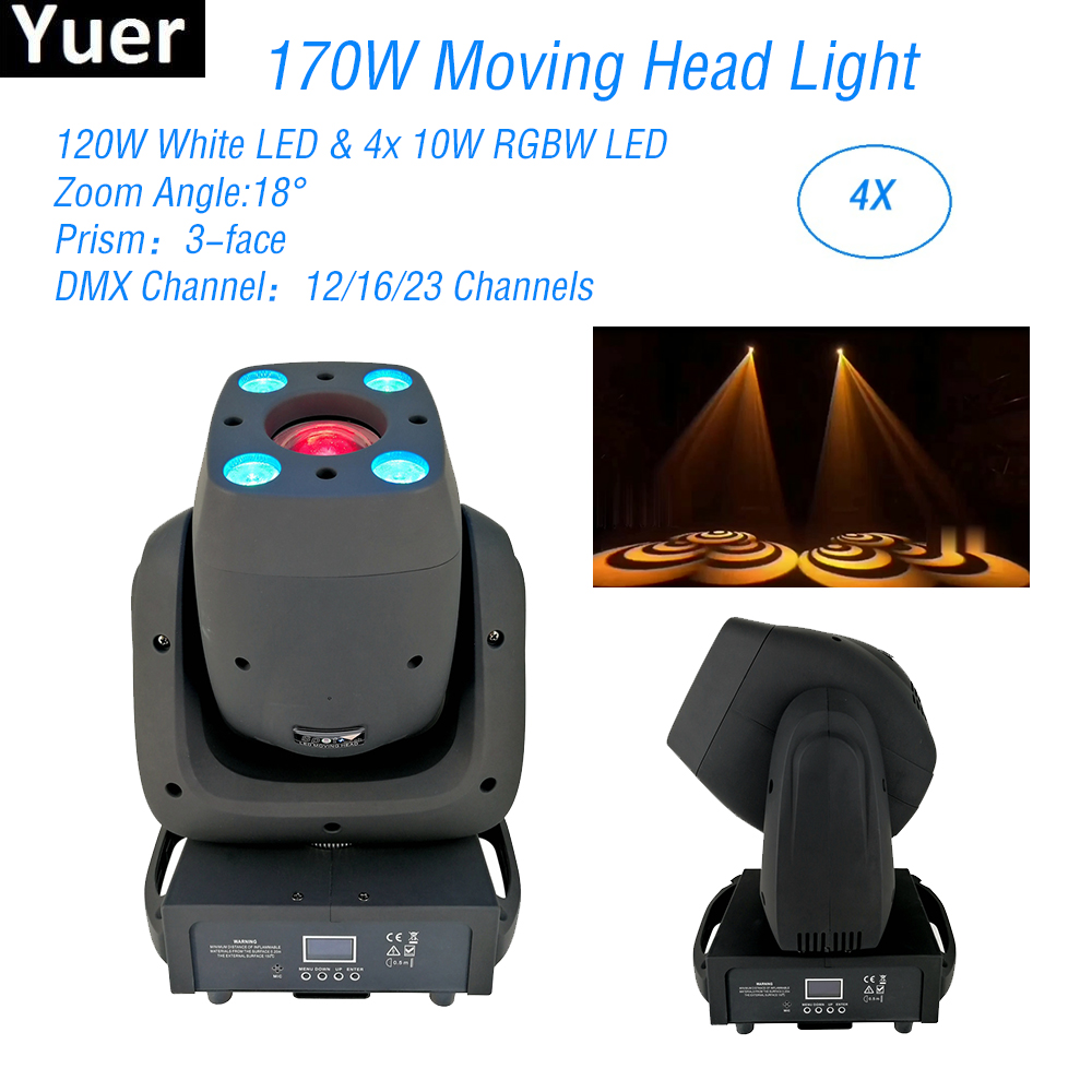 4 pcs lote 170 w led spot moving head luz dj equipamentos cor musica som luzes