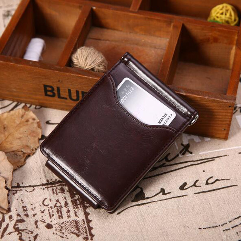 86f92983c721 Mens Pocket Leather Magnetic Money Clip Slim Wallets Black ID Credit Card  Holder Wallets
