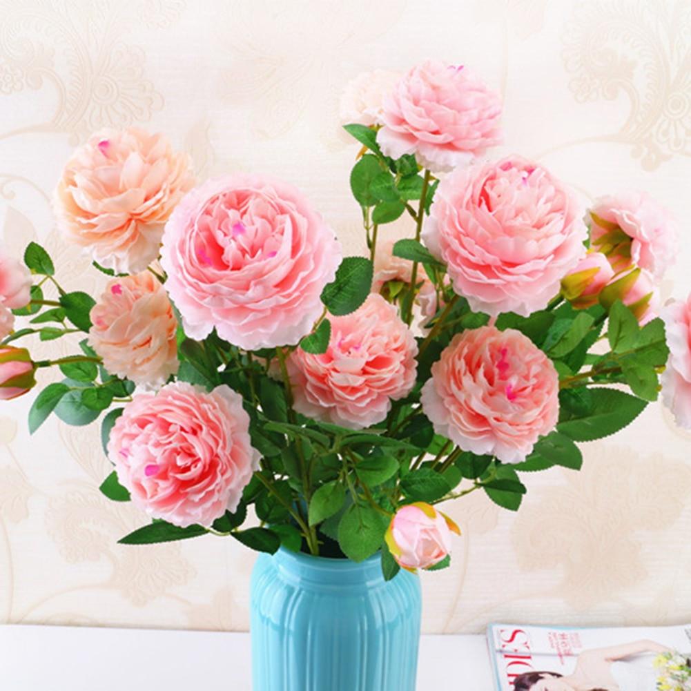 Hot Sale 3 Heads Silk Flower Wedding Bouquet Rose Dahlias Artificial