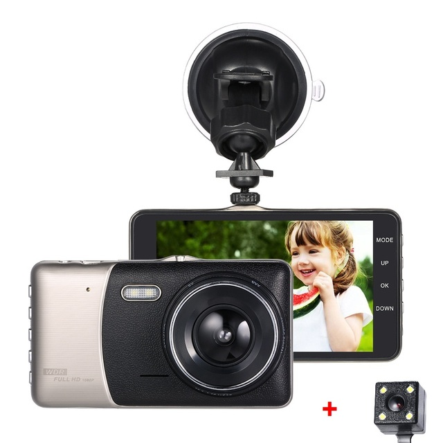 Dash Cam Cam Corder Full Hd 1080p Led Night Vision 4 Inch Dual Lens Car Dvr Camera Recorder Motion Detection Loop Recording 1