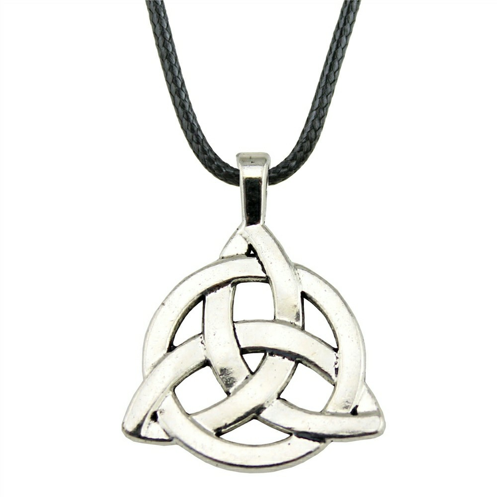 Celtic Knot Triangle Charm Pendant Necklace with Black Cord