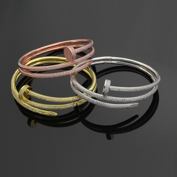 Luxury Brand Stainless steel nail Bracelet Bangle for women full with stones double circle cuff bangle Love carter love jewerlry stylish hollow circle ring hasp cuff bracelet for women