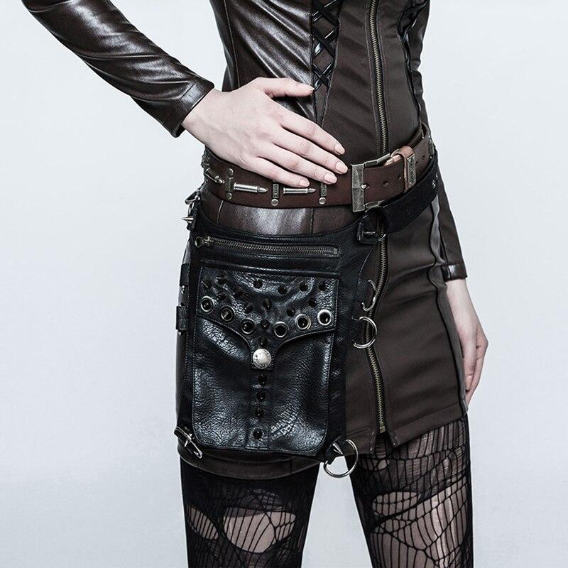 Black Leather Rivet Spike Multifunctional Steampunk Purse Retro Rock Shoulder Messenger Bag Gothic Waist Bag- Corset Accessories