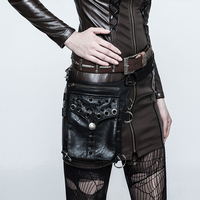Black Leather Rivet Spike Multifunctional Steampunk Purse Retro Rock Shoulder Messenger Bag Gothic Waist Bag Corset Accessories