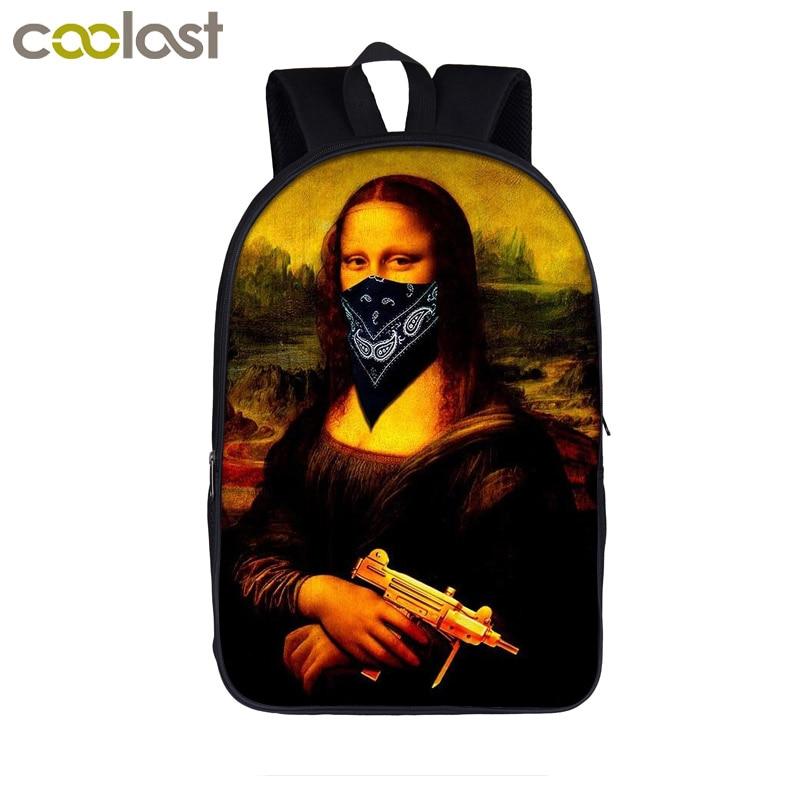 Funny Mona Lisa Backpack for Teenager Girls Boys Children School Bags Laptop Backpack mochila Women Leisure Bag Men Travel Bags bag lisa minardi bag