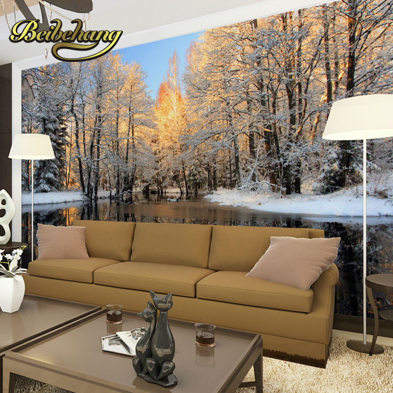Beibehang Papel De Parede. Winter Landscape Birch Tree Forest And River  Pattern Snow Scenery Style Photo Murals Wallpaper