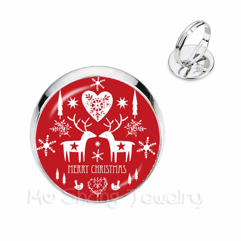สุนัขคริสต์มาสรูปแบบแหวน 16 มม.แหวน DIY Charm ปรับแหวนเด็กผู้หญิงที่ยอดเยี่ยม Xmas ของขวัญ