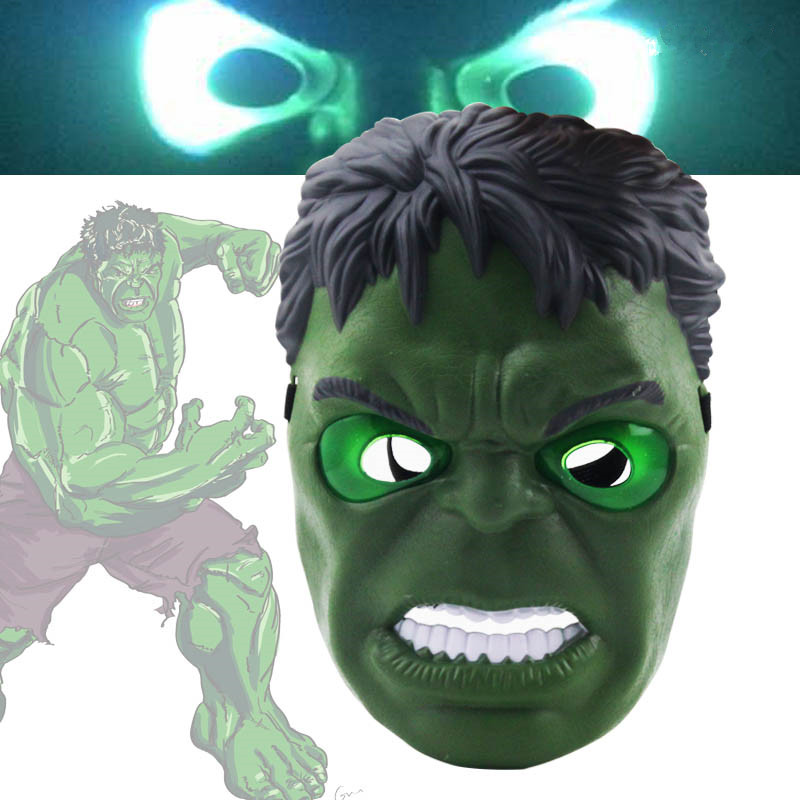 2018 New The Avengers Hulk Flash Mask LED Glowing Hulk Cartoon Mask Adult & Children Halloween Cosplay Kids Toys Boy Gift 2pcs lot harry potter series death eater mask halloween horror malfoy lucius resin masks toy private party cosplay toys gift
