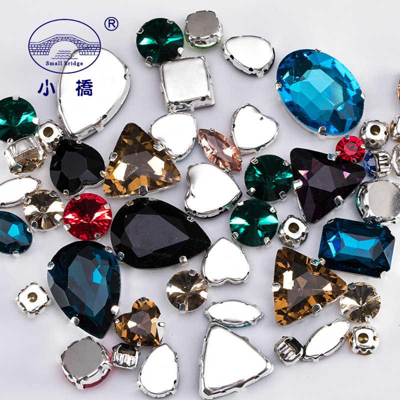 Paillettes cristal coudre sur strass avec griffe bricolage coloré robe pierres mélanger forme verre strass pour vêtements 50 PCS/PACK S037