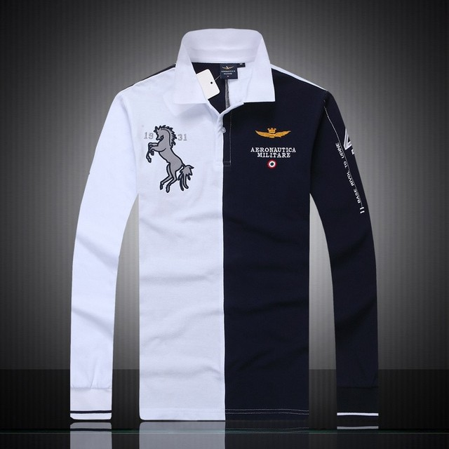 New 2015 aeronautica militare camisa masculina polo men long sleeve shirts, high quality Air force one shark polos clothing