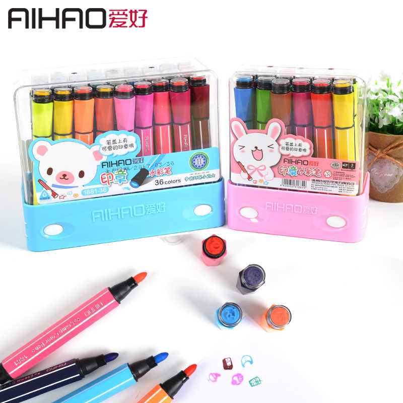 Hot selling AIHAO 1881# washable markers seal watercolor pen thick head brush 12/18/ 24 colors optional with seal