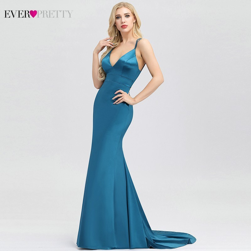 Sexy Teal Long Prom Dresses Ever Pretty EP00913TE V-Neck Spaghetti Straps Backless Elegant Satin Gala Dresses With Sweep Train