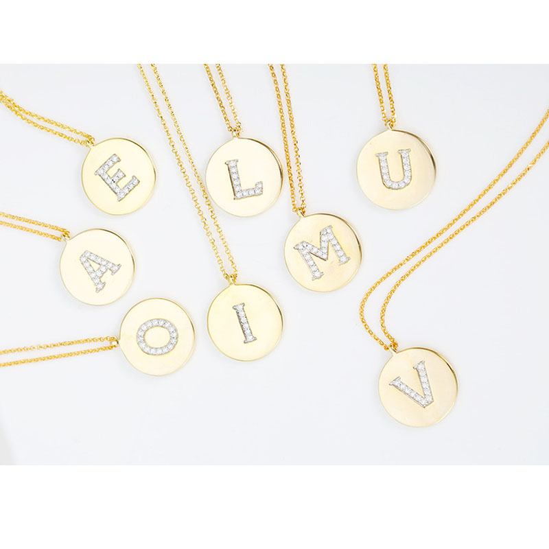 SLJELY 925 Sterling Silver Round Coin Gold Color Initial Letter A Z Necklace Zircon Name Pendant