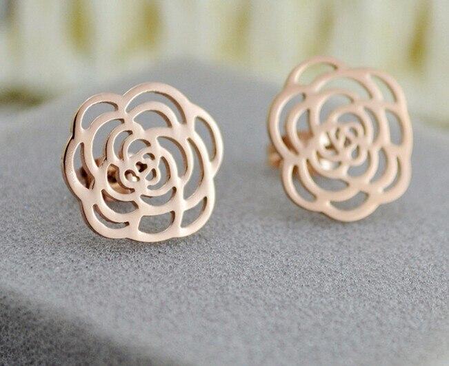 9ef184385a47 Oro color de rosa hueco Camelia flor pendientes brincos aretes de moda  mujeres pendientes de la joyería vintage boucle d oreille - a.jonzee.me