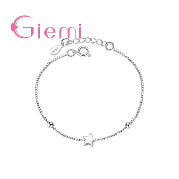 Concise Created Box Chain Bracelet for Women Simple Square and Star Shape 925 Sterling Silver Statement Jewelry for Women Girl
