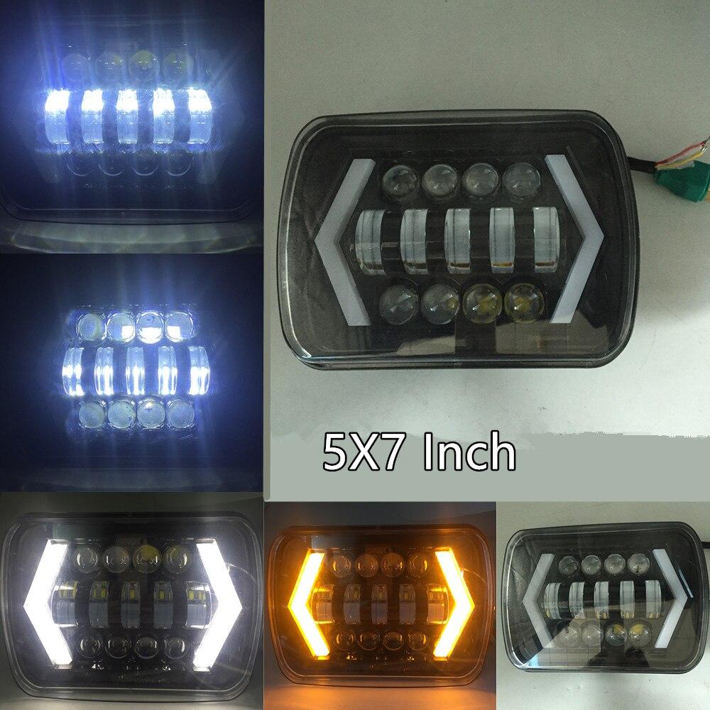 Flèche Style LED Phare 7x6 5x7 Pouces Projecteur Blanc DRL Jaune Clignotants Noir Pour Jeep Wrangler YJ Cherokee XJ Comanche MJ