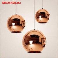 מודרני זכוכית נחושת תליון אורות גלובוס אהיל תליון מנורת מטבח תליית אור מתקן זוהר de Led תקרת luminaire