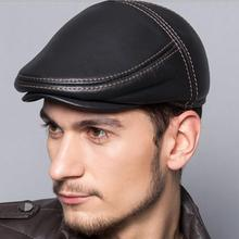 2017 cowhide genuine leather men berets cap hat high quality