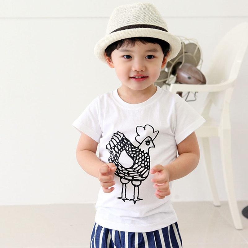 Summer Children Short Sleeve T-Shirts Kids Casual Tees Baby Boy Girl Cartoon Animal Printed Tops Shirts New