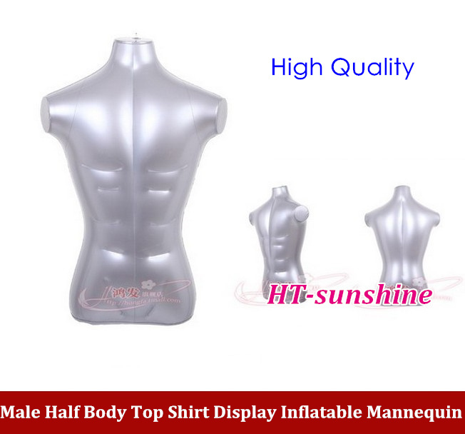 Free Shipping Male Half body inflatable model clothing  Top Shirt  Display Inflatable Mannequin Dummy high quality new female 3 4 body inflatable mannequin torso dummy model dress fashion display