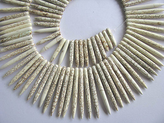 wholesale turquoise gemstone sharp spikes bar cream white mixed jewelry necklace 20 50mm 2strands 17inch