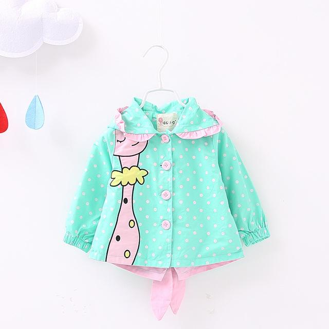 2016 nueva primavera otoño de algodón ropa de la muchacha ropa para niños con capucha de la chaqueta rompevientos para niños 1-3 años de envío gratis