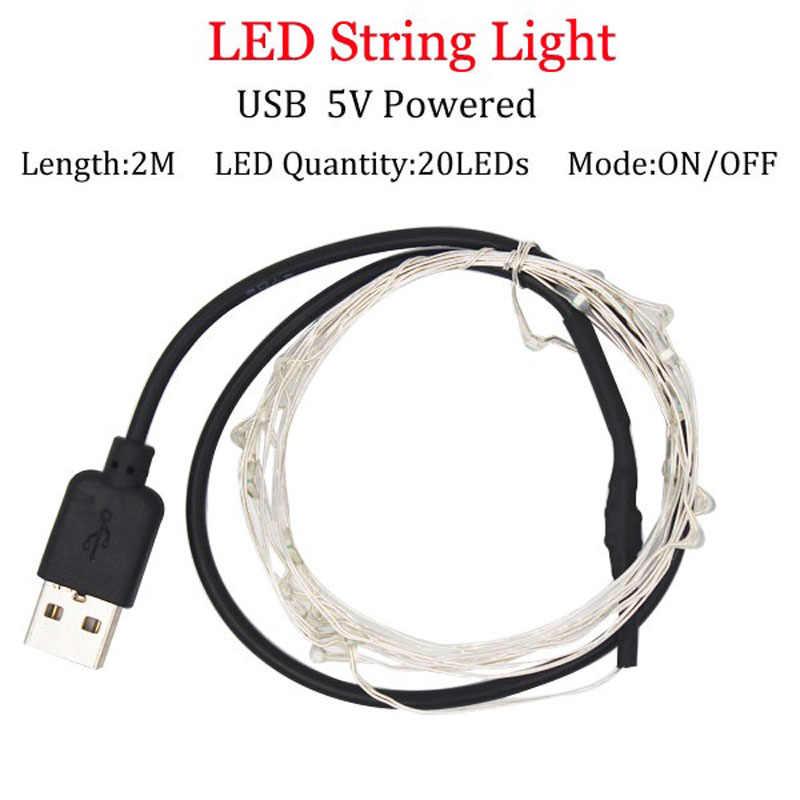 LED String lights 2 M srebrny drut wróżka światło boże narodzenie ślub strona dekoracji zasilany przez akumulator USB taśmy led lampa