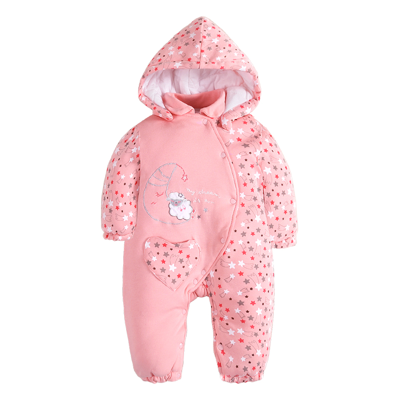 Winter Cotton Baby Rompers  Children's  Clothing  hooded Girls Single Breasted Romper Suit embroidery long Sleeve Product Set cotton baby rompers set newborn clothes baby clothing boys girls cartoon jumpsuits long sleeve overalls coveralls autumn winter