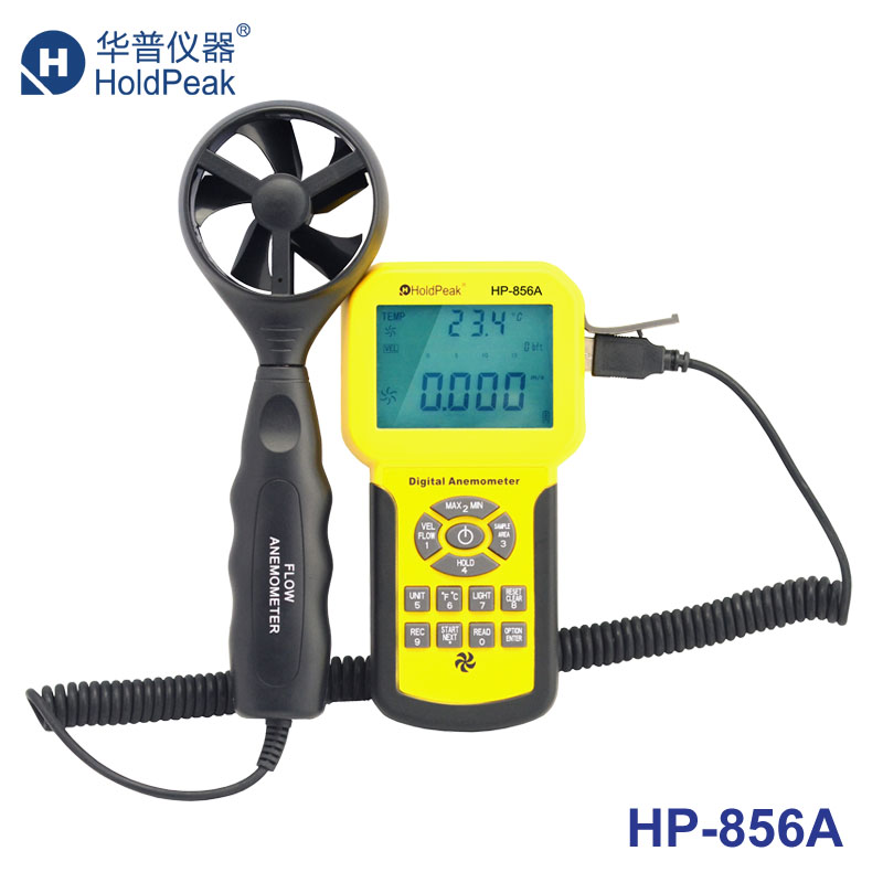 HoldPeak HP-856A Digital Wind Speed Air Volume Meter Anemometer USB/Handheld with Data Logger and Carry Case holdpeak hp 760g 1000volt