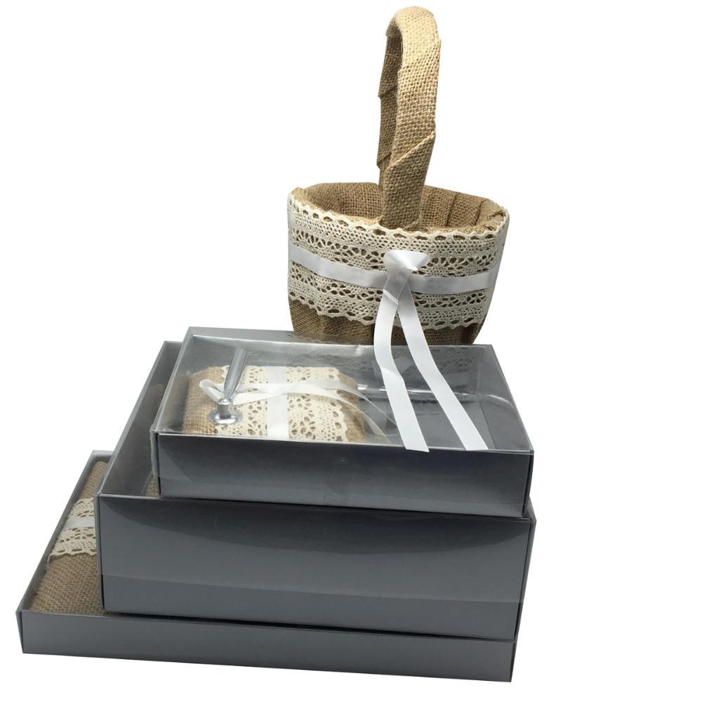 4 pièces/ensemble Vintage Hesian toile de jute mariage livre d'invité et ensemble de stylo et anneau oreiller et panier de fleurs fournitures de décoration de mariée, avec boîte-cadeau - 6
