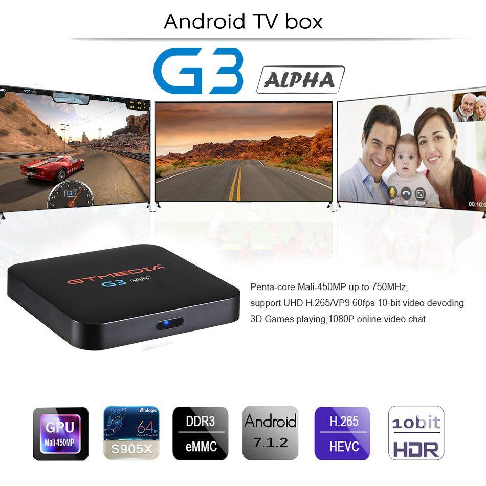 GTMEDIA G3 Alpha 2 GB 16 GB Android 7.1 S905X Quad Core WiFi BT4.0 décodeur boîtier décodeur Android TV boîtier intelligent