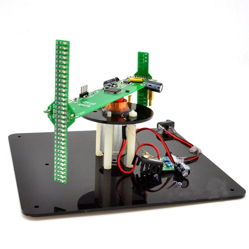 Peças + Ttl Kit de Rotação Esférica Biaxial Pov Rotativa Relógio Serial Downloader Diy 16 Led