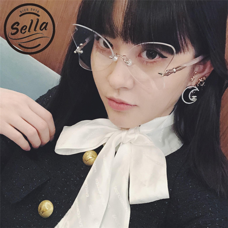 Sella 2018 New Fashion Women Rimless Butterfly Glasses Frame Brand Designer High Quality Unique Pear Nosepad Women Men Eyewear