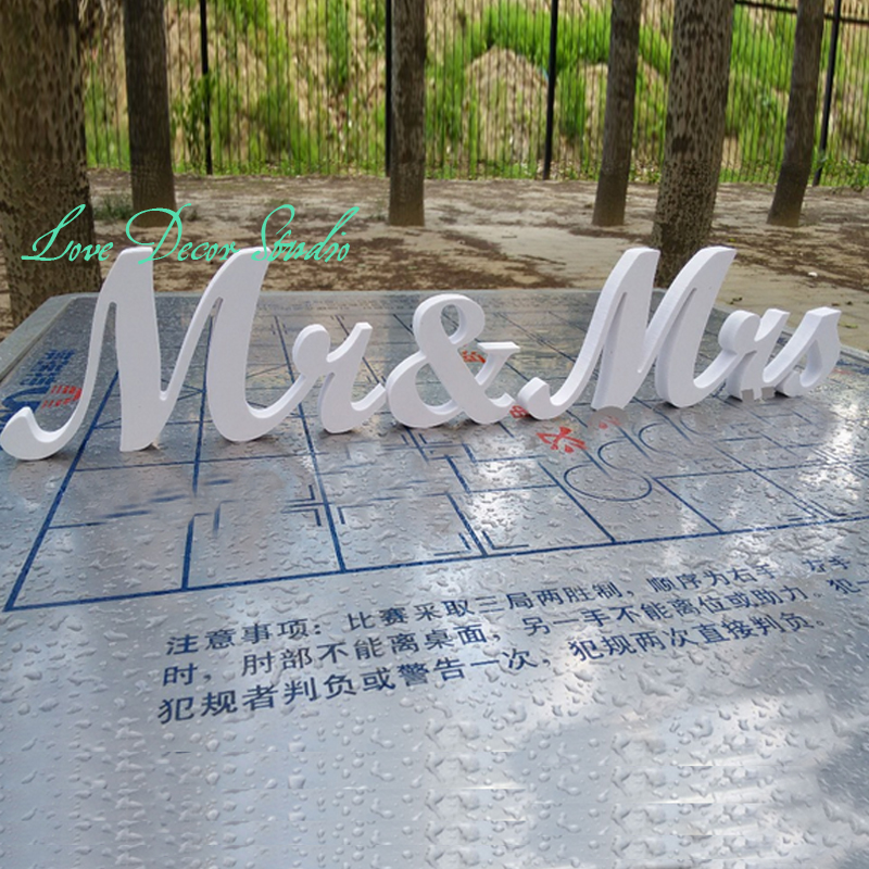 Wooden letters script Mr &Mrs set wedding table decor. Mr and Mrs head table sign for wedding. Photo Prop. Wedding signage. ...