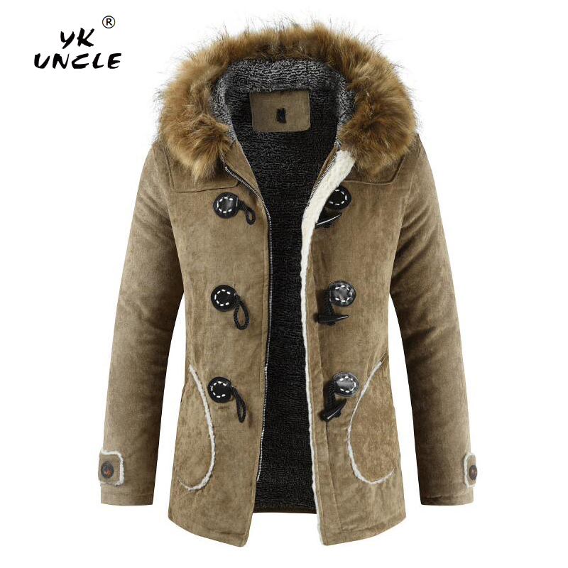 YK UNCLE Winter Fleece Military Jackets Men Faux Fur Hooded Windproof Outwear   Parka   Men Horns Buckle Thick Windbreaker Overcoat