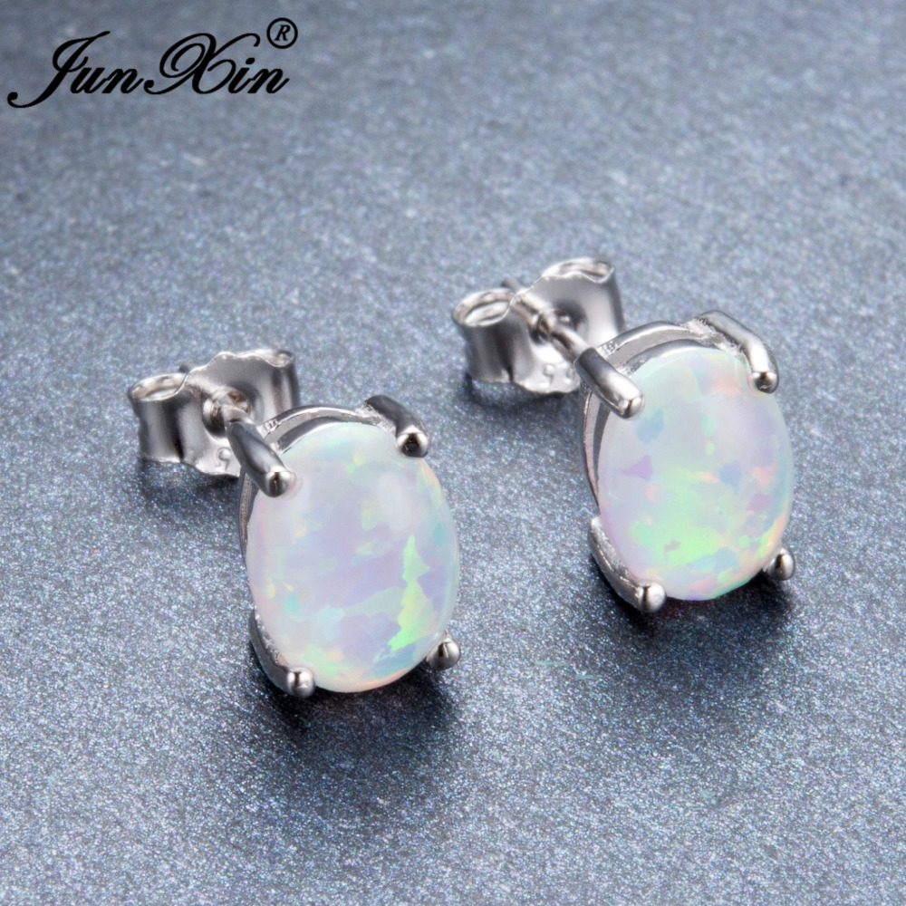 Junxin Female Oval Green White Blue Fire Opal Stud Earring 925 Sterling Silver Filled Jewelry Double Earrings For Women In From