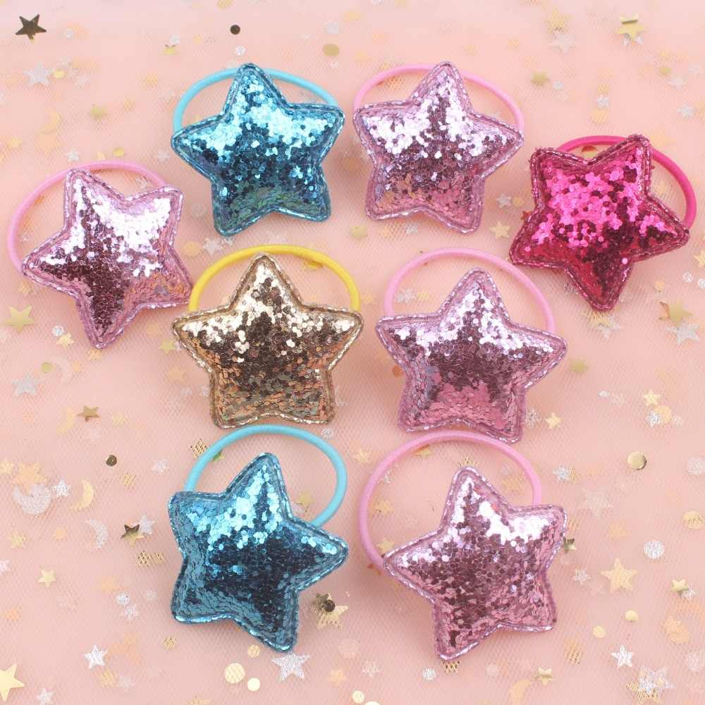 2019 new Glitter powder Star 4 colors beautiful kids rubber band elastic hair bands ponytail holder head rope hair 1pcs