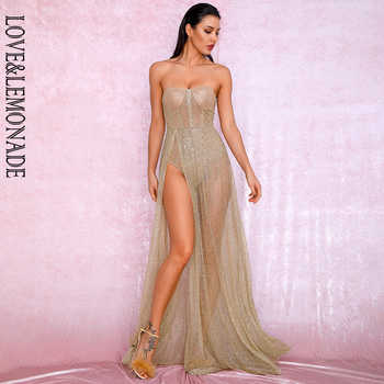 LOVE&LEMONADE Sexy Gold Strapless Tube Top Glitter Material Split Poncho Maxi Dress LM81971 Autumn/Winter - DISCOUNT ITEM  10% OFF All Category