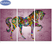 3pcs 5D Diy Diamond Painting Abstract Horse Diamond Mosaic Embroidery Beadwork Diamond Pattern Kits For 3d