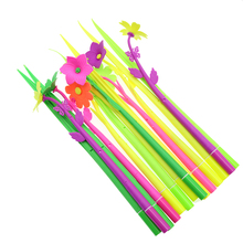 Creative Cartoon Cute Simulation Plant Soft Silicone Pen 0.5mm Refills ChildrenS Stationery Gift Office Supplies 14pcs