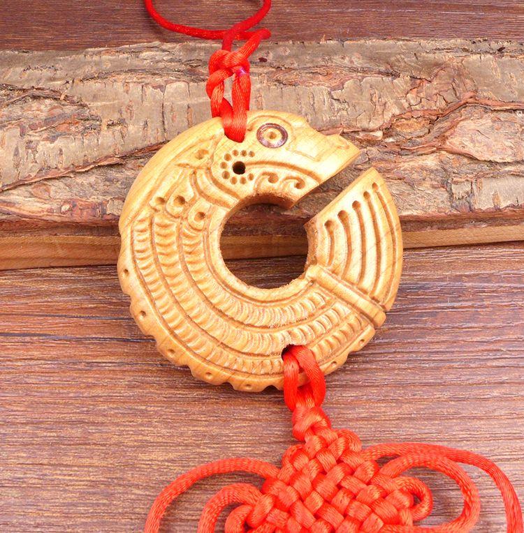 Long Yi Chi dragon bois sculpture pendentif pendentif zodiaque dragon univers voiture Jushi 2050215 - 3